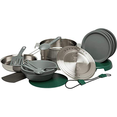 Stanley Base Camp Cook Set for 4 | 21 Pcs Nesting Cookware Made from Stainless Steel & BPA Free Material | Incl Pot, lid, Cutting Board, Spatula, Plates, Spoons, Forks, Bowls, Dish Rack, Trivet