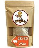 Estuche de tripas de cerdo 28/30 Wengler - De excelente calidad - Equiparable a las de carnicería - Resistente a la cocción - Apto para ahumar y barbacoa (25m (28/30))