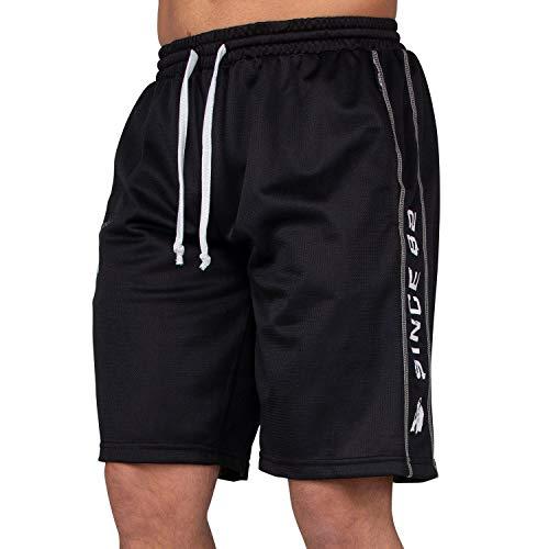 GORILLA WEAR Bodybuilder Hose Kurz Herren - Functional Mesh Shorts - Trainingsshort Schwarz/Weiss XXL/XXXL