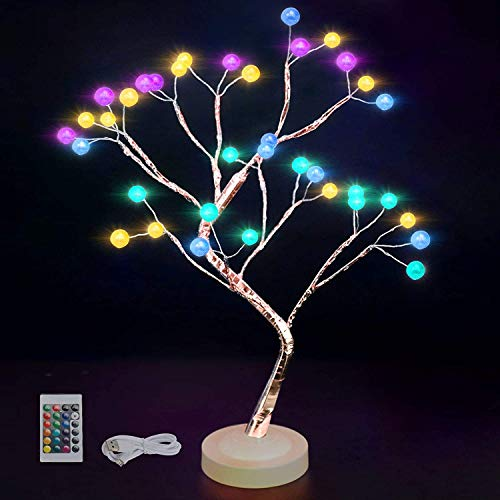 20' Tabletop Bonsai Tree Light with 36 Pearls LED, DIY Artificial Lamp Tree Lamp Decoration, Battery/USB Operated, for Bedroom Desktop Christmas Party Indoor Decoration Night Lights for Kids