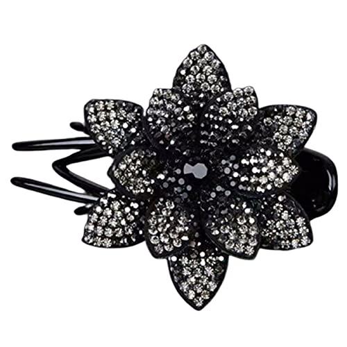 Pinza para el pelo con flor grande con diamantes de imitación de pato con forma de loto
