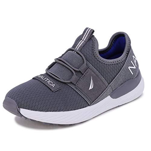 Nautica Kids Toddler Sneaker Athletic Slip-On Bungee Running Shoes Boy-Girl Toddler Little Kid-Neave Bali Toddler-Storm Grey White-12