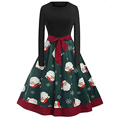 Sufeng Christmas Women's Long Sleeve O Neck Printing Vintage Gown Evening Party Dress