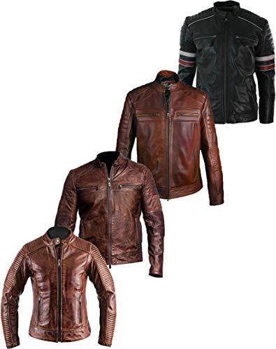Western Fashions Vintage Retro 2e Editie Cafe Racer Distressed Zwart en Echt Zwart Biker Lederen Jas