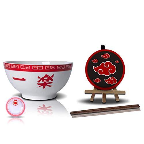 LVMMO Naruto Ramen Bowl (16,5 cm) mit Hölzernen Stäbchen & Akatsuki Red Clouds Untersetzer Porzellan Ramen Suppenschüssel Set für Udon Nudeln Pho Soba Getreidesalat Kinder Geschenk