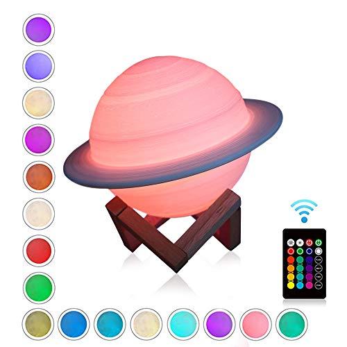 AOZBZ - Lámpara de noche con diseño de Saturn en 3D (recargable, 16 colores, con mando a distancia, ideal como regalo para niños, regalo de cumpleaños, decoración de interior)