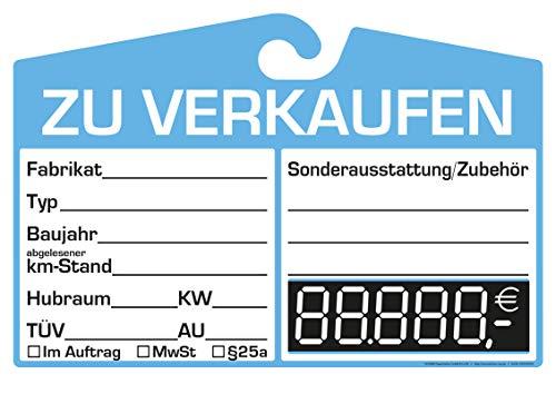 25x KFZ-Verkaufsschild zur Befestigung am Innenspiegel (blau, digitale Anzeige)