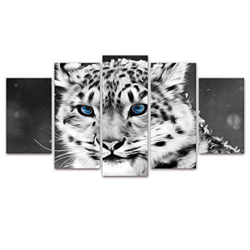 Modernes Leinwand Kunstdrucke Wandbild, für Wohnzimmer, 5Panels Giclée-Leopard Wolf-Gemälde mit Illustrationen Zu Hause, Dekoration, fertig zum Aufhängen, Weiß /...