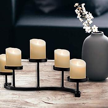 S Candelabra Candle Holder 丨 Black Wrought Iron Candlestick Holder Centerpiece with 5 Pedestals