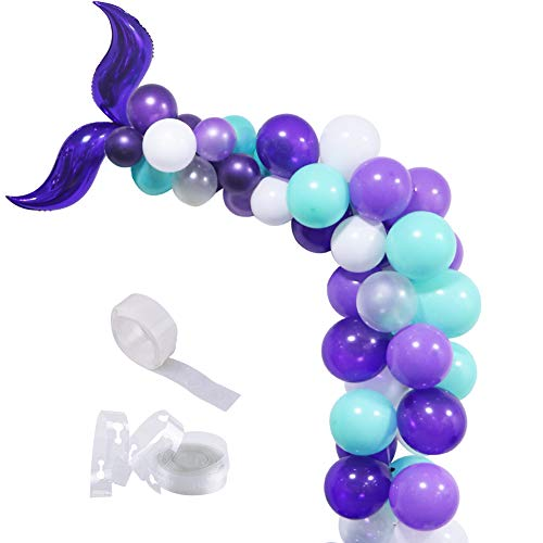 Mermaid Balloon Garland, Mermaid Foil Tail Balloons Garland Arch Kit for Mermaid Baby Shower Kids Birthday Party Decorations Mermaid Ocean Theme Party Supplies