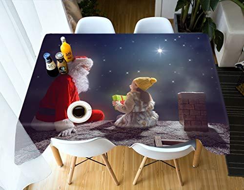 S-vision Nappes 3D Nappe Rectangulaire Santa Claus Et Fille Nouvel an Modèle Actuel Antipoussière épaissir Tissu Fête De Noël Nappe,80cm*130cm