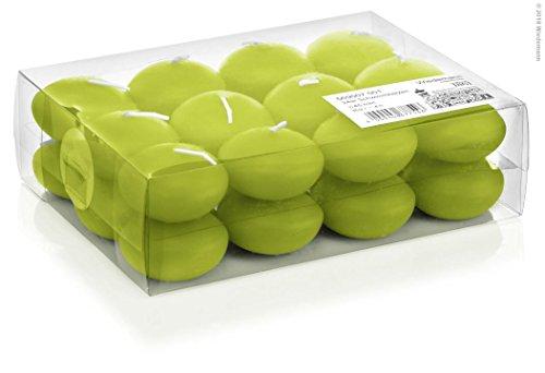 24 Bougies Flottantes Vert Pomme Ø 45 mm, Brûler temps en heures 4, Bougies pour l'événement, partie, occasion, baptême, mariage, Avent, Noël, décoration