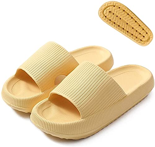 Pillow Slides Slippers Super Soft Quick Drying Sandals,Cozy Unisex Shower Sandals with Thick Sole,Non-Slip Massage Shower SPA Bath Pool Gym House Sandals For Indoor & Outdoor (38-39,Yellow)
