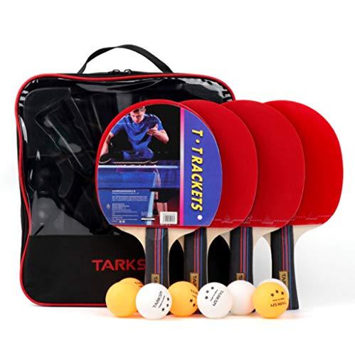 4pcs raquetas de tenis de mesa 3 juego de bolas, principiante de ping-pong conjunto de paletas |7-capa de lámina de madera, además de esponja dura y caucho mate, entrenamiento for principiantes murcié
