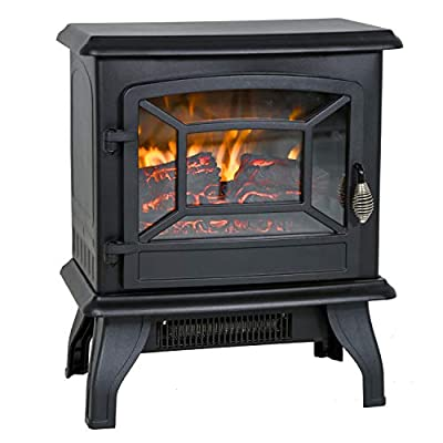 "Electric Fireplace Heater 20"" Freestanding Fireplace Stove Portable Space Heater with Thermostat for Home Office Realistic Log Flame Effect 1500W CSA Approved Safety 20"" Wx17 Hx10 D,Black"