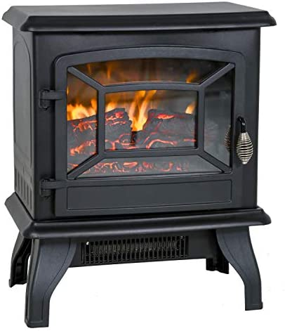 Electric Fireplace Heater 20 Freestanding Fireplace Stove Portable Space Heater with Thermostat product image