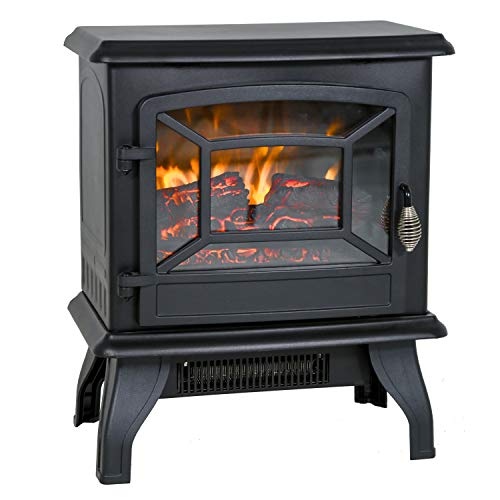 """Electric Fireplace Heater 20"""" Freestanding Fireplace Stove Portable Space Heater with Thermostat for Home Office Realistic Log Flame Effect 1500W CSA Approved Safety 20"""" Wx17 Hx10 D,Black"""