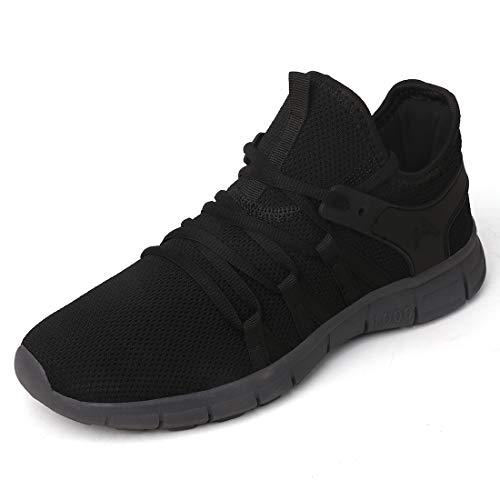 INZCOU Black and Grey Non Slip Gym Sneakers Ultra Lightweight Athletic Running Walking Tennis Shoes Black Grey