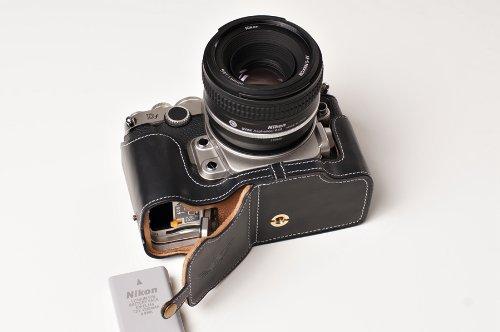 Nikon ニコン Df用本革カメラケース(電池,SDカード交換可) ブラック、 ブラウン (カメラケース, ブラック)