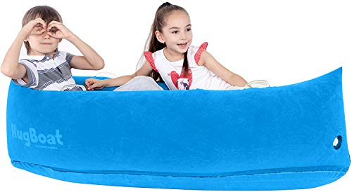 Special Supplies Inflatable Compression Boat Lounger for Kids, Sensory Needs Therapy and Reading Lounger, Air Pump and Repair Kit - Aqua