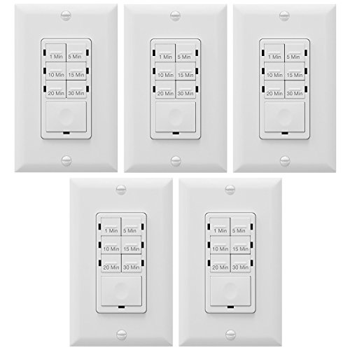 Enerlites Bathroom Timer Countdown Switch, HET06A-R | In-Wall Electrical Timer for Fans, Electrical Outlets, Indoor and Outdoor lights,with On/Off switch | White - 5 Pack