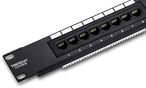 TRENDnet 8-Port Kat6 Ungeschirmtes Patch Panel, 25,4 cm (10Zoll) breit, 8x Gigabit RJ-45 Ethernet Ports, TC-P08C6