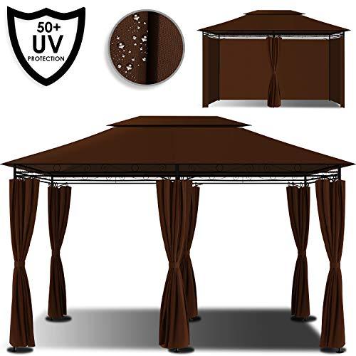 Kesser® - Pavillon 3x4m inkl. Seitenwände mit Reißverschlüsse, Eckig Festzelt Partyzelt Gartenlaube Gartenzelt Gartenpavillon UV-Schutz 50+, Braun