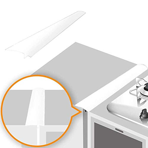 Lindas Silicone Stove Gap Covers (2 Pack), Heat Resistant Oven Gap Filler Seals Gaps Between Stovetop and Counter, Easy to Clean (21 Inches, White)