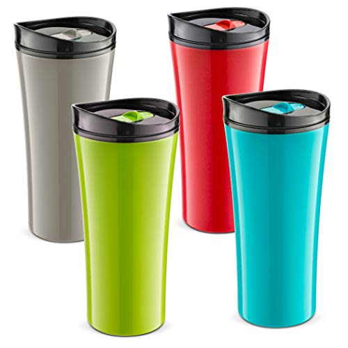 Set of 4 color coffee cup Insulated Travel coffee mug spill proof   Reusable coffee cups with lids   Insulated Coffee & Tea mug Keeps Hot or Cold   16 oz   great for travel Liquor Sip.