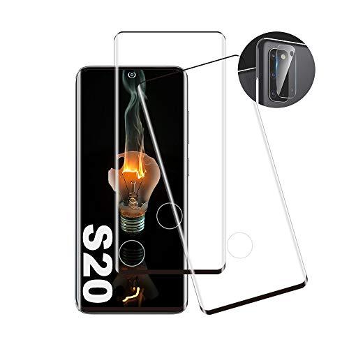 Pellicola proteggi schermo in vetro temperato, 2 pezzi, compatibile con lettore di impronte digitali, ultra trasparente, durezza 9H, adatta per Samsung Galaxy S20