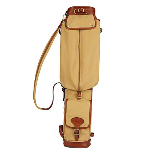 Tourbon Vintage Golf Club Carry Bags Travel Case - Canvas and Leather