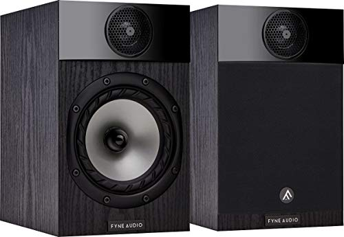 Fyne Audio F300 2-Way 70W RMS Compact Bookshelf Speaker with 5' Multi-Fibre Bass Cone Woofer, 25 mm Polyester Dome Tweeter and Wall-mounting - Black Ash (Pair)