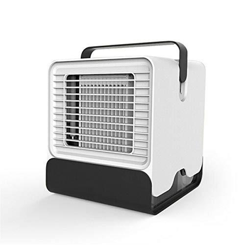 Mini Climatiseur portable Veilleuse climatisation Cooler Humidificateur Purificateur USB Réservoirs d' air de bureau ventilateur de refroidissement avec de l'eau (Color : White)