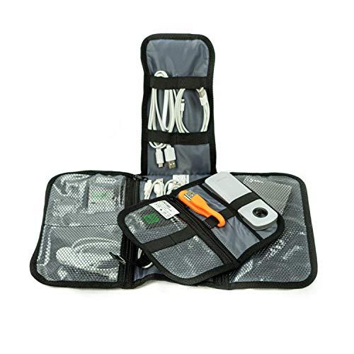 Sunflake Kabel Organizer Tasche Schwarz - 2-in-1 Organizer für Reise - Elektronik Etui - Cable Bag - Kabeltasche für Festplatte, Powerbank, SD Karten & Zubehör
