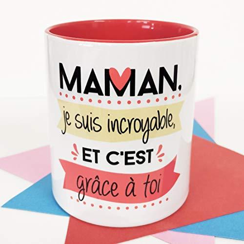 LA MENTE ES MARAVILLOSA NOS pensées - Tasse avec Phrases et Dessins Amusants (Maman, Je Suis incroyable, et C'Est grâce à TOI) Cadeau Original pour Une Maman