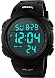 Mens Sports Digital Watches - Outdoor Waterproof Sport Watch with Alarm/Timer, Big Face Military Wrist Watches with LED Backlight for Running Men - Black by SKMEI