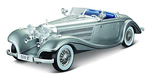 Maisto Mercedes 500 K Maharadjah, Modellauto mit Federung, Maßstab 1:18, Türen und Motorhaube beweglich, Fertigmodell, lenkbar, 24 cm, weiß (536055)