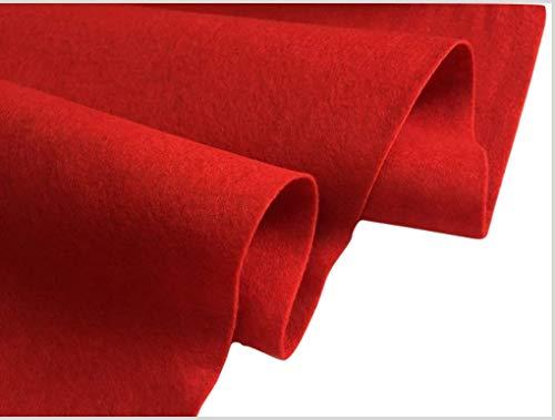 Tela de fieltro para manualidades, colores lisos, poliéster suave, 2 mm de grosor, 102 cm de ancho., poliéster, Rojo, 1 metro