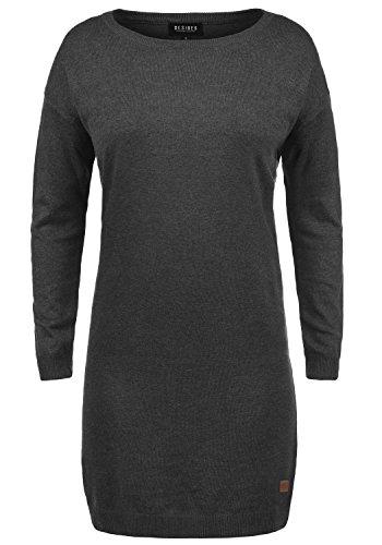 DESIRES Ella Damen Strickkleid Feinstrickkleid Kleid Mit Rundhals, Größe:XL, Farbe:Dark Grey Melange (8288)