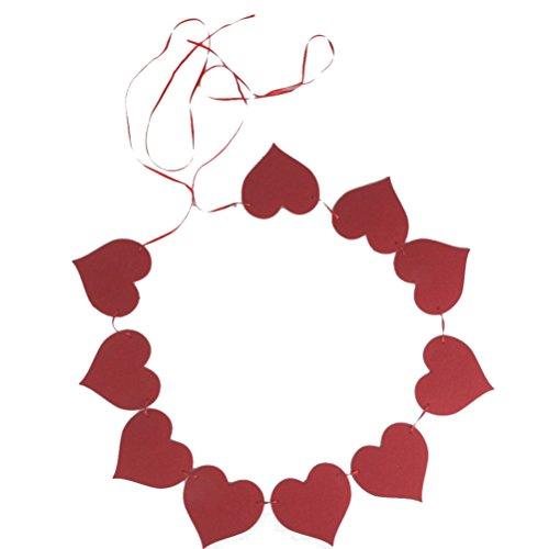 ROSENICE Guirlande Bannière Parti Coeur Rouge pour Party de Noël Mariage Décoration