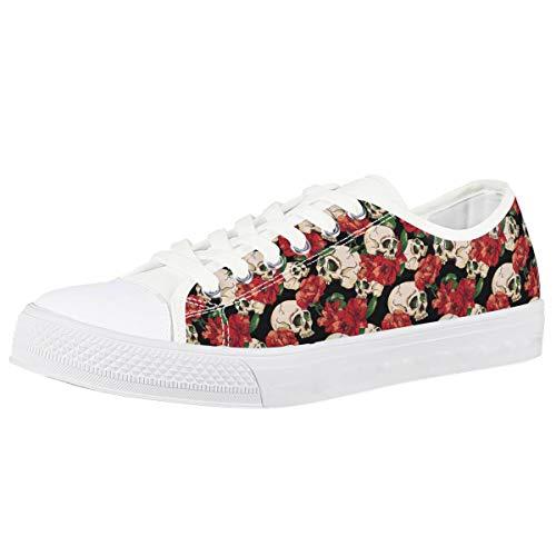 POLERO Plimsoles Zapatillas Bajas Mujer Zapatos de Lona Señoras con Cordones Zapatos Casuales Planos para Caminar Estampado Animal/Floral Blanco/Azul/Negro/Verde, Talla 35-48