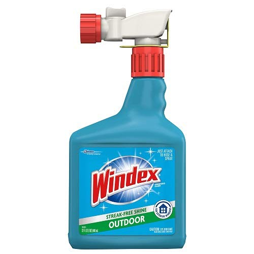 Windex Outdoor Window, Glass, & Patio Cleaner with Hose Attachment, 32 fl oz