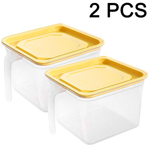 MEETGG 2 Pcs Storage Box Plastic Sealed Transparent Stackable Container with Lids, Best Dry Food Keepers Large Airtight Plastic Container Sealed Cans,1.4L