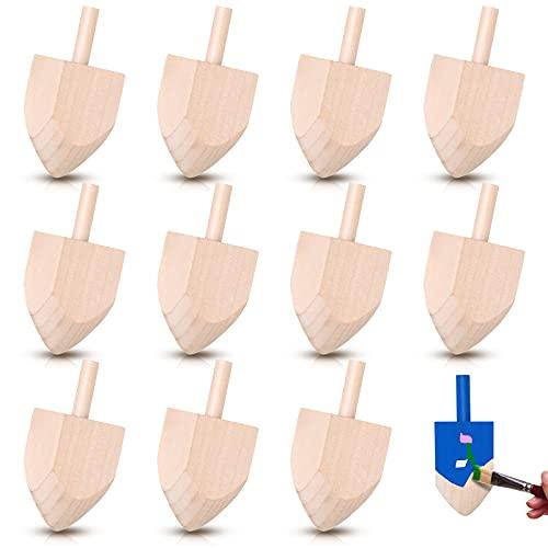 12 Pieces Hanukkah Wooden Dreidel Wooden Dreidels Hand Painted 2.6 Inch Unfinished Wooden Chanukah Dreidel for Hanukkah Party Decoration DIY