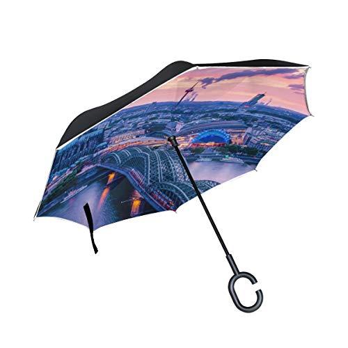 Wunderschöne romantische Kölner Dom Doppelschicht Falten Anti Uv Schutz Winddicht Regen Gerade Autos Golf Reverse Inverted Umbrella Stand mit C förmigen Griff