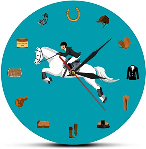 Cocina Juego de equipamiento deportivo ecuestre moderno Reloj de pared moderno Equipo para montar a caballo Accesorios de pista Reloj de pared Ecuestre Regalos para amantes de los caballos Ade