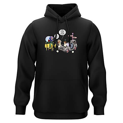 Sweat-shirt à Capuche Noir parodie Dragon Ball Z - Retour vers le Futur - Trunks Vs Doc et Marty Macfly - Collision dans les Couloirs du Temps ! (Sweatshirt de qualité premium de taille L - imprimé e