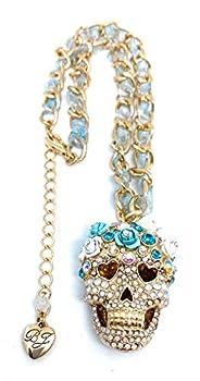 Betsey Johnson Blue Ribbon Chain - Crystal Sugar Skull Pendant Necklace