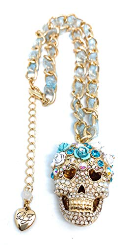 Betsey Johnson Blue Ribbon Chain - Crystal Sugar Skull Pendant Necklace