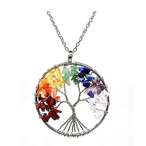 Moligin Árbol de la Vida Collar de Amatista Colgante Rose 5cm Collar de Cristal de Piedras Preciosas Chakra Regalo de la joyería